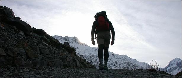 old man hiking